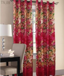 Multi Color Cotton Satin Printed Curtains ( 2 Curtain Set )