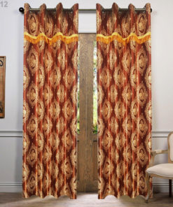 Imported Sweet Leather Silk Curtains Blackout ( 2 Curtain Set )