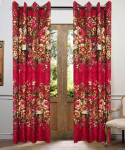 Multi Color Cotton Satin Printed Curtains ( 2 Curtain Set )