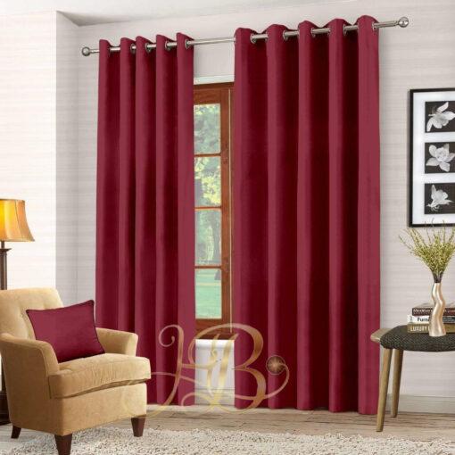 Imported Malai Velvet Curtains Maroon