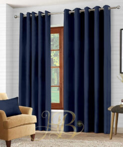 Imported Malai Velvet Curtains Navy Blue