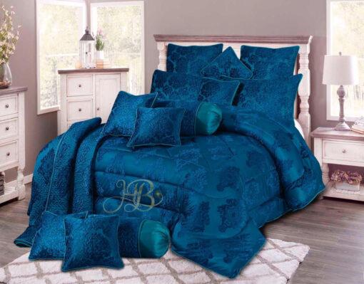 Palachi Velvet Bridal Bed Set 14Pcs Blue