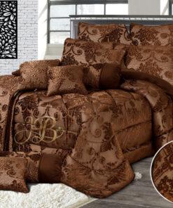 Palachi Velvet Bridal Bed Set 14Pcs Brown