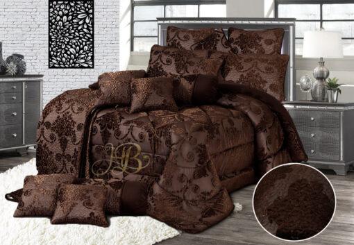 Palachi Velvet Bridal Bed Set 14Pcs Chocolate Brown