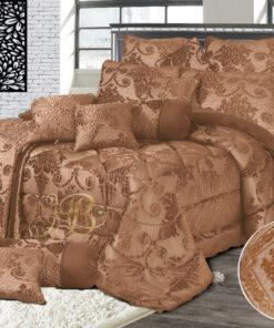 Palachi Velvet Bridal Bed Set 14Pcs Golden