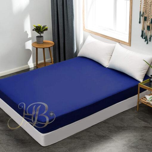 Terry Waterproof Mattress Cover Blue