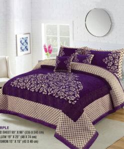 Four Border Velvet Bed sheet 06