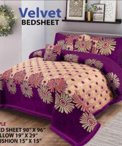 Four Border Velvet Bed sheet 26