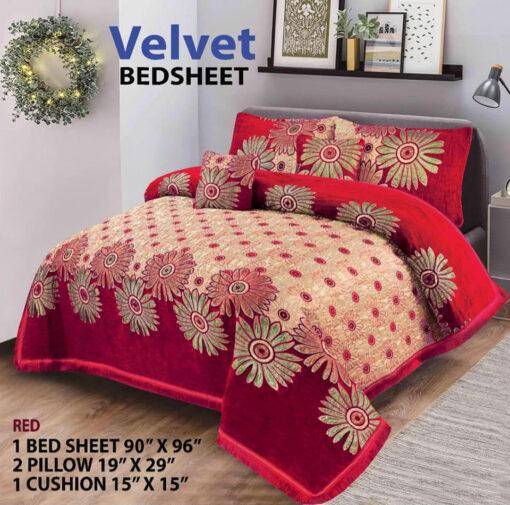 Four Border Velvet Bed sheet 27